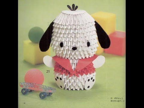 How to make 3D Origami Dog Pochacco Cartoon - Hướng dẫn xếp chó con