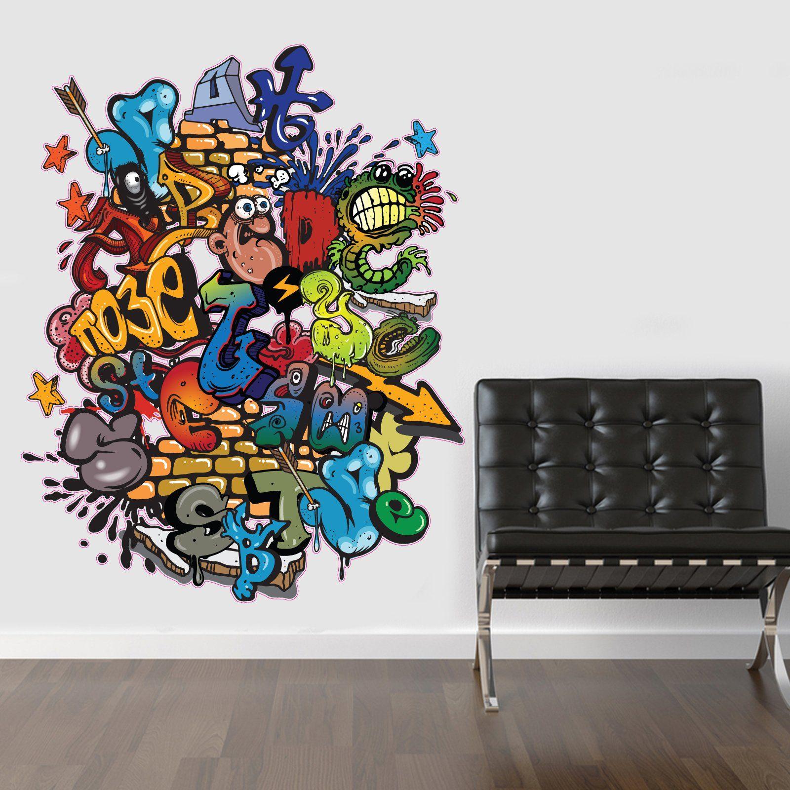 Sticker wall graffiti - Regular Full Colour Graffiti Wall Sticker Wall Decal Wall Art Vinyl Wall Mural Amazon