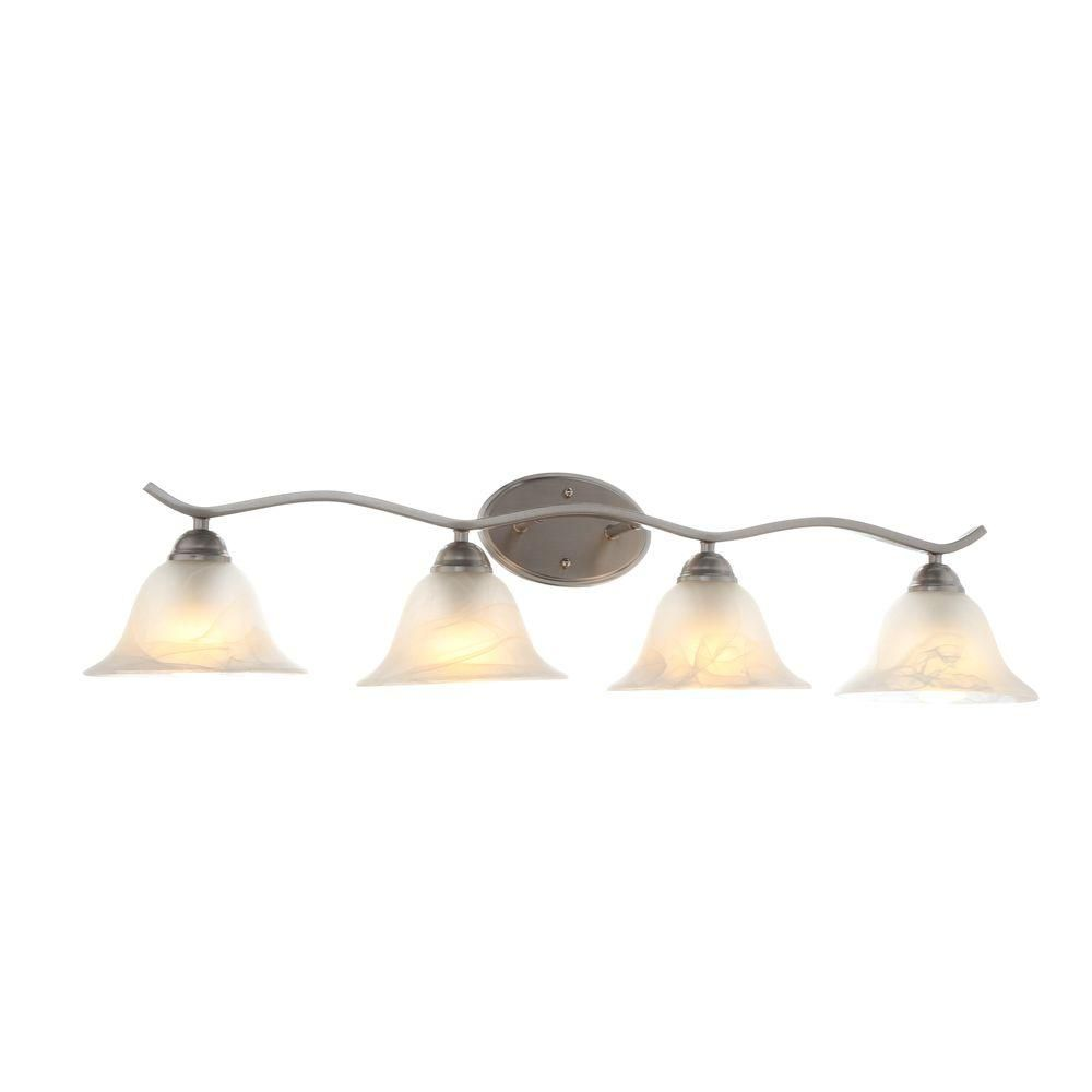 bathroom vanity lights brushed nickel. Hampton Bay Andenne 4-Light Brushed Nickel Bath Vanity Light With Bell Shaped Marbleized Glass Shades-705207 - The Home Depot Bathroom Lights F