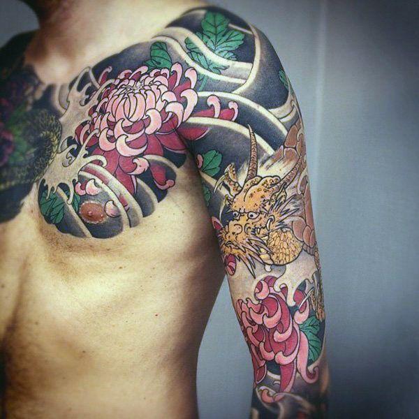 100 chrysanthemum tattoo designs for men flower ink. Black Bedroom Furniture Sets. Home Design Ideas