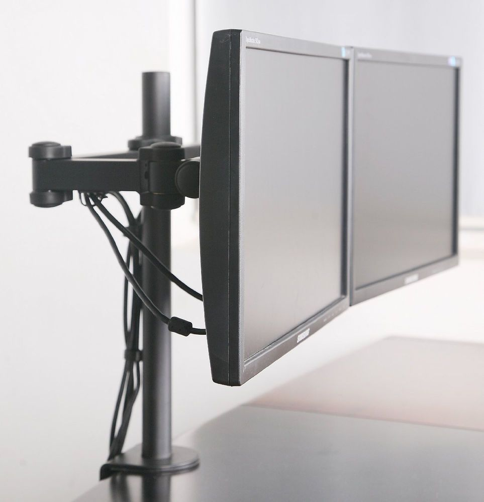 Dual Monitor Desk Mount Computer Flat Screen Two Lcd Stand