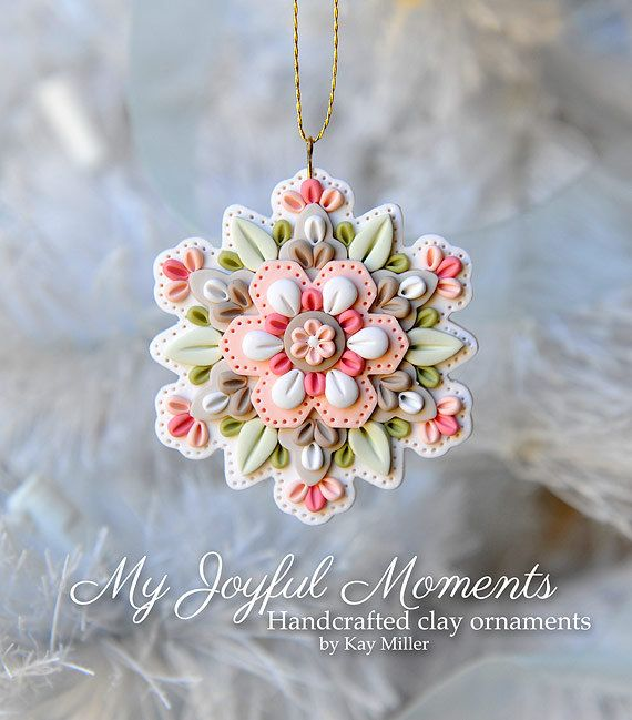 Handcrafted Polymer Clay Mini Floral Snowflake by MyJoyfulMoments