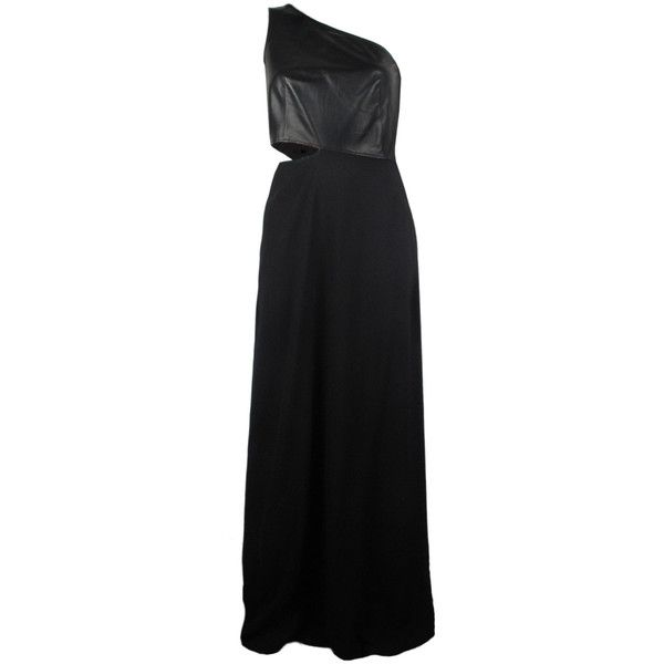 10 Crosby Derek Lam One Shoulder Leather Gown (€225) found on Polyvore