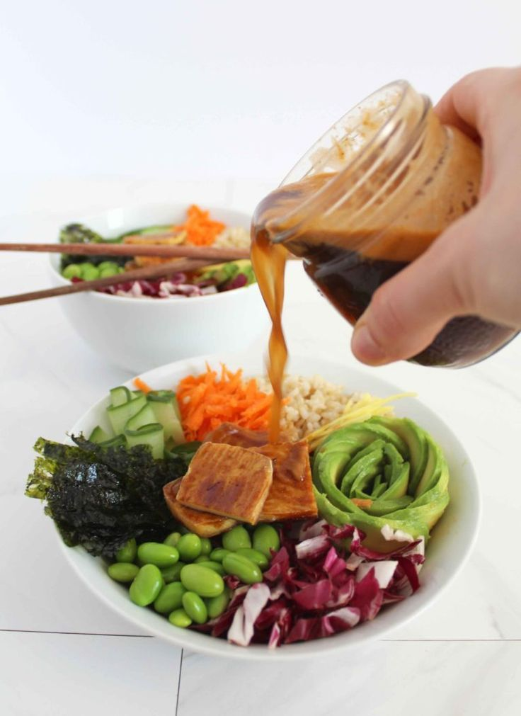 Protein Packed Vegan Sushi Bowl Recipe with Sweet Soy-Ginger Sauce. This healthy vegan sushi bowl recipe is high in plant-based protein, colourful vegetables, and tasty nutrition! Vegan suchi bowl's are quick to make when you are busy, and an excellent source of vitamins, minerals, healthy fat and plant-based protein. #sushi #sushibowl #vegansushi #vegansushibowl #soysauce #ginger #nori #tofu #avocado #edammame #brownrice #veganprotein #plantbasedprotein #plantbasednutrition #highprotein