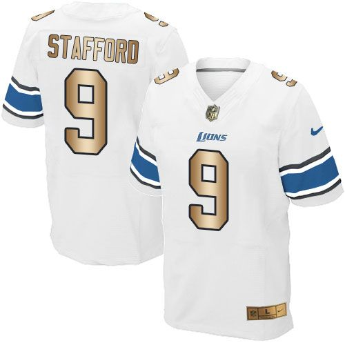 Detroit Lions #9 Matthew Stafford White Road NFL Nike Elite Jersey
