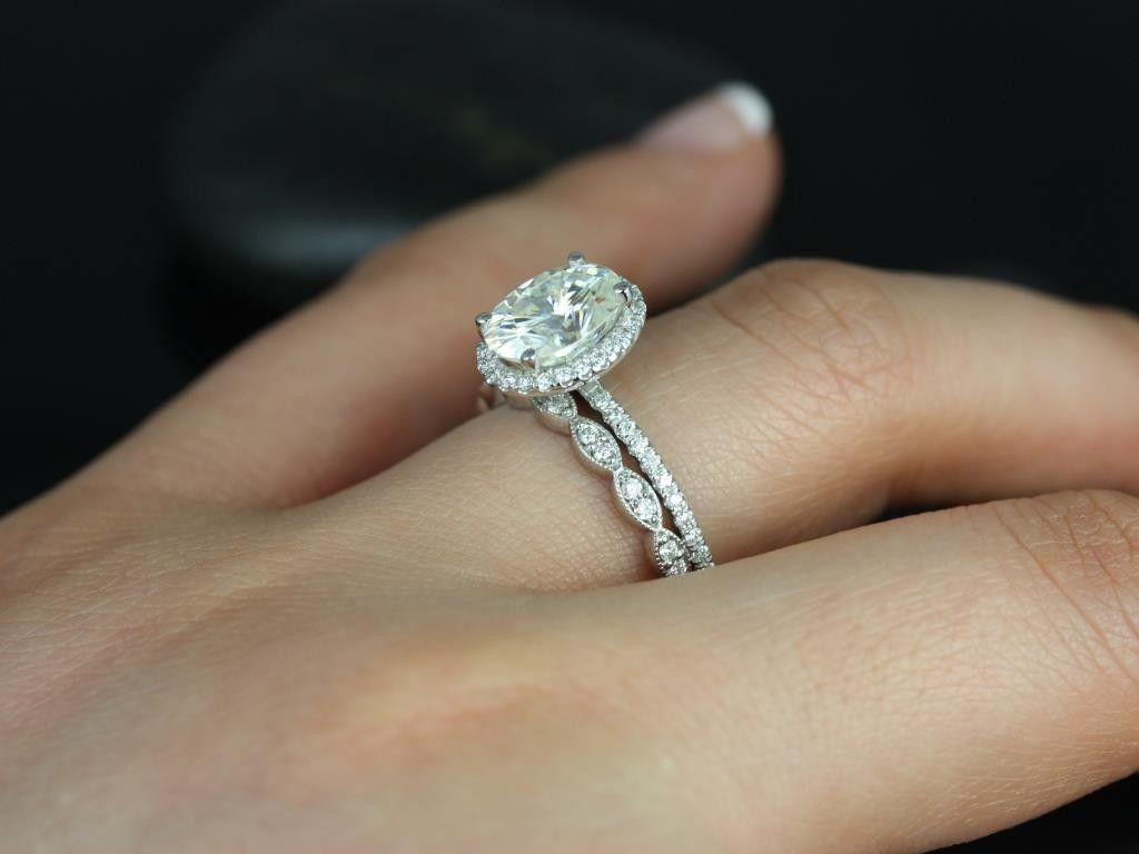 Rosados Box Federella 9x7mm Christie White Gold Oval FB Moissanite And Diamond Halo Wedding Set