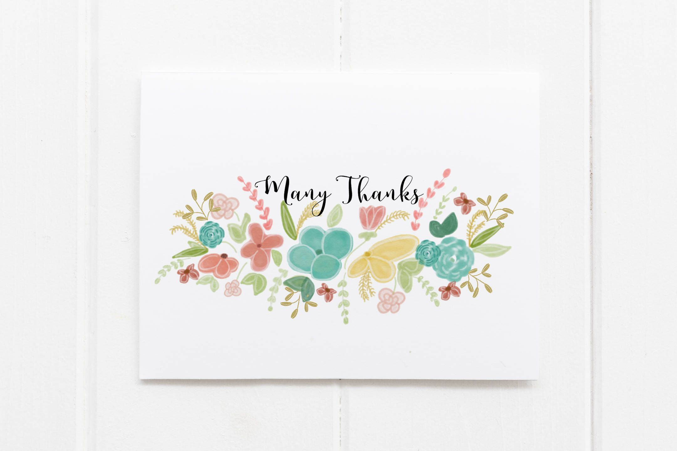Many Thanks Greeting Card Hand Drawn Thank You Notes Family