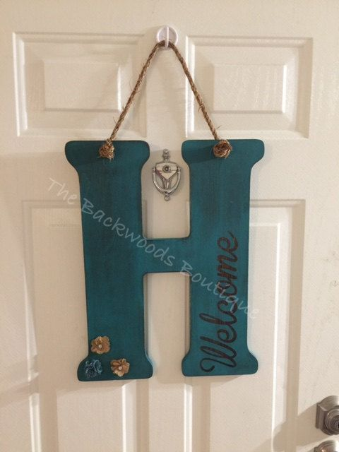 Wooden Front Door Letter Hanger  Rope Or Ribbon Holder  Welcome