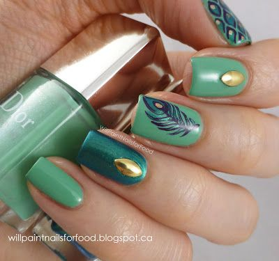 Will Paint Nails for Food: Peacock Nail Art Using the Dior Vernis Nail Duo in Samba