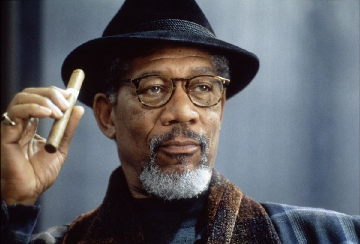 Morgan Freeman, male actor, hand, cigar, hat, glasses ...