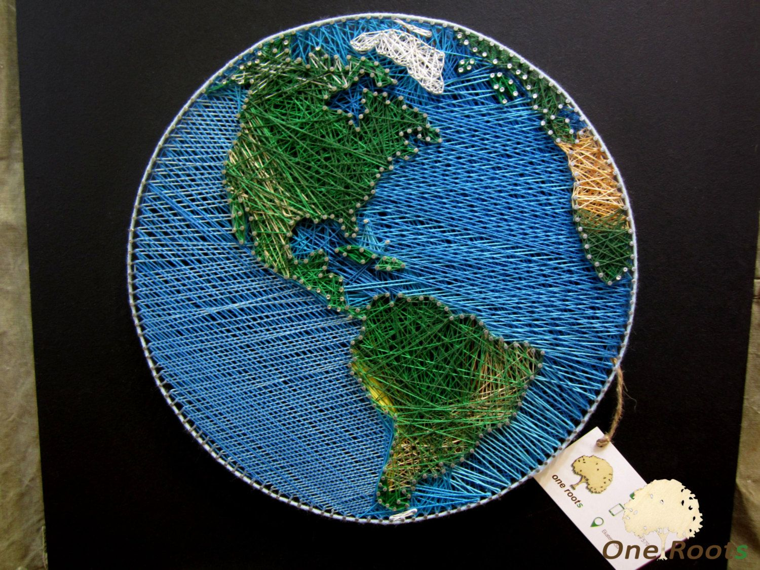 string art planet earth wall art sign world map oneroots string art one roots pinterest. Black Bedroom Furniture Sets. Home Design Ideas