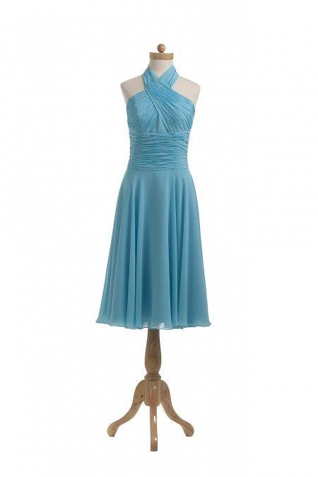 Shop Chiffon Halter Ocean Blue Bridesmaid Dresses Nz Online