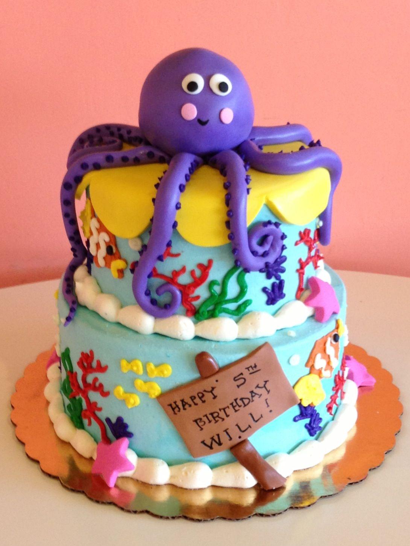 Enjoyable Octopus Birthday Cake By 2Tarts Bakery New Braunfels Tx Funny Birthday Cards Online Inifodamsfinfo