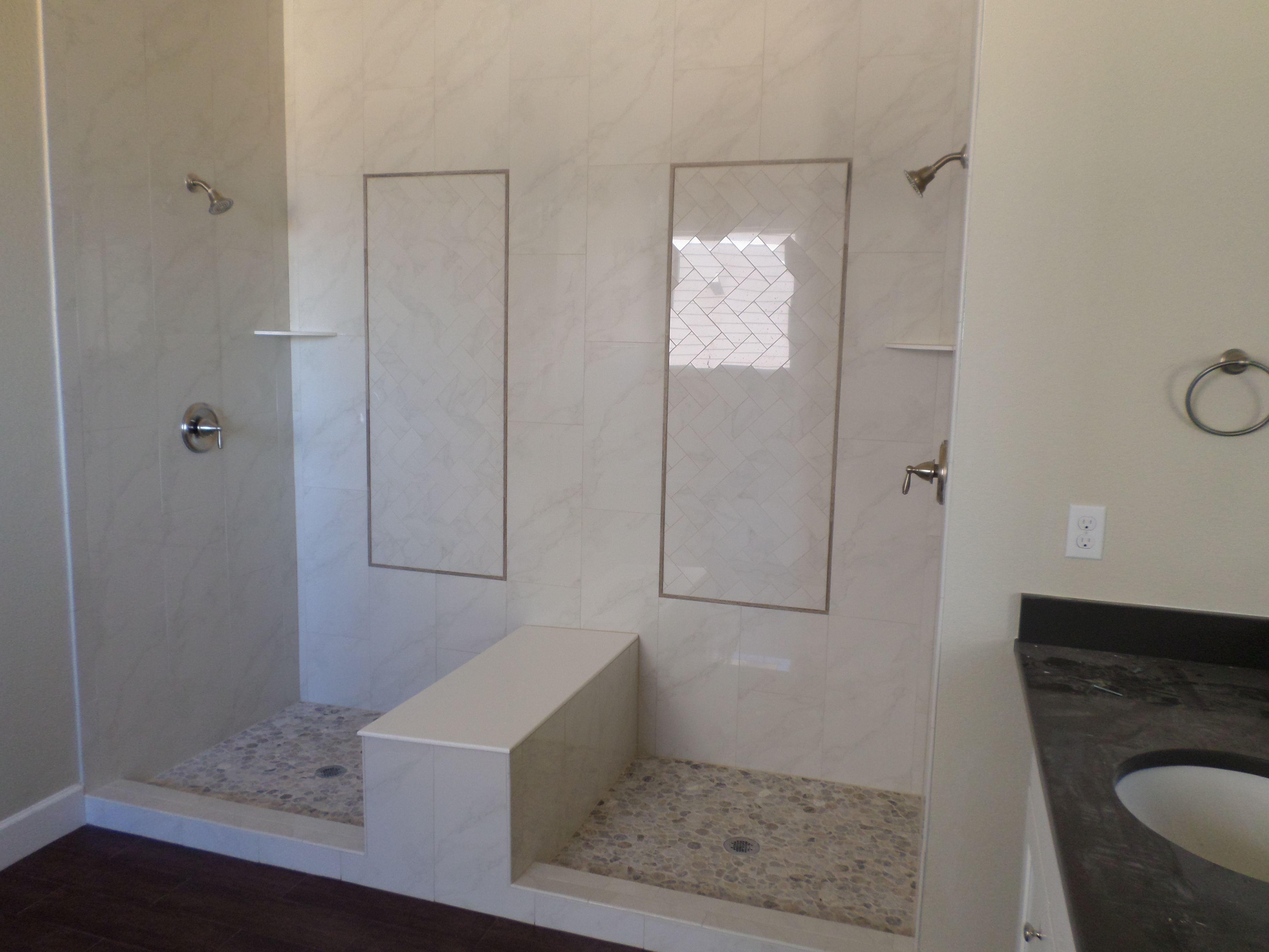 Sierra Ridge Double Shower Emser Paladino Polished Albanella 12x24 Vertical With 4x8 Herringbone Insets Bathroom Inspiration Master Bathroom Emser