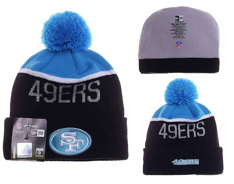 best website 6d5c6 b4a58 Mens   Womens San Francisco 49ers New Era 2016 NFL Fashion Graphite Blue  Upright Sport Knit Beanie Hat With Pom Pom
