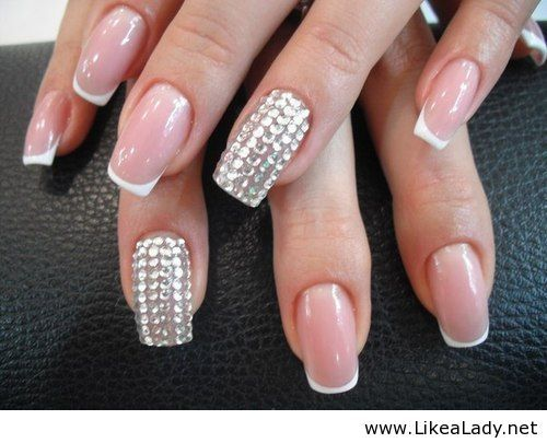 Pink Nail With French Tip Plus Accent Bling Very Pretty And Elegant