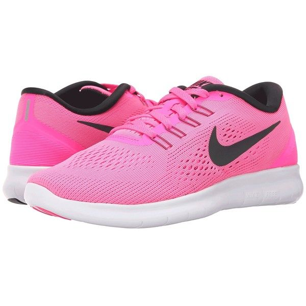 f4d6b6724aa Nike Free RN (Pink Blast Fire Pink White Black) Women s Running Shoes ( 90)  ❤ liked on Polyvore featuring shoes