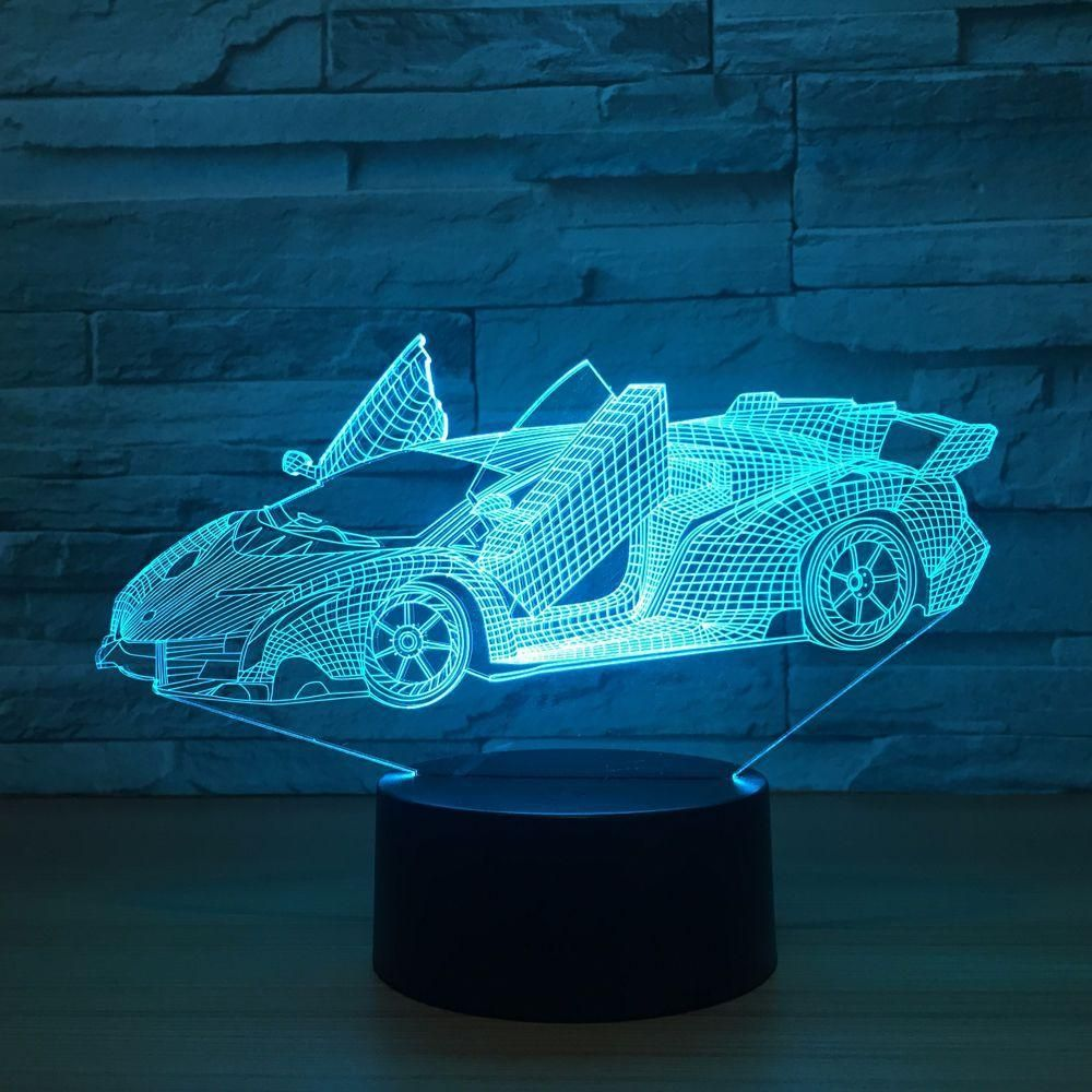 Roadster 3d Optical Illusion Lamp In 2020 Night Light 3d Night Light 3d Lamp