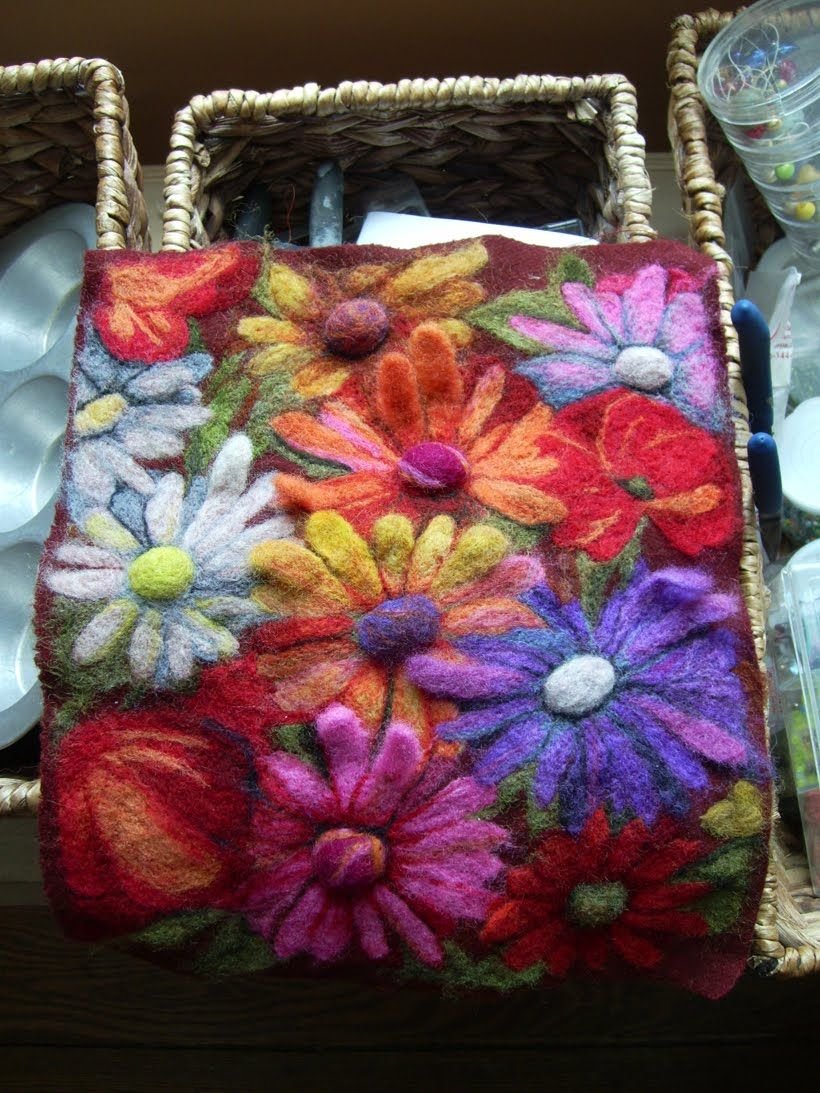 gorgeous felted wool flowers on a square -Flea Fair: anne goodhill gohorel-