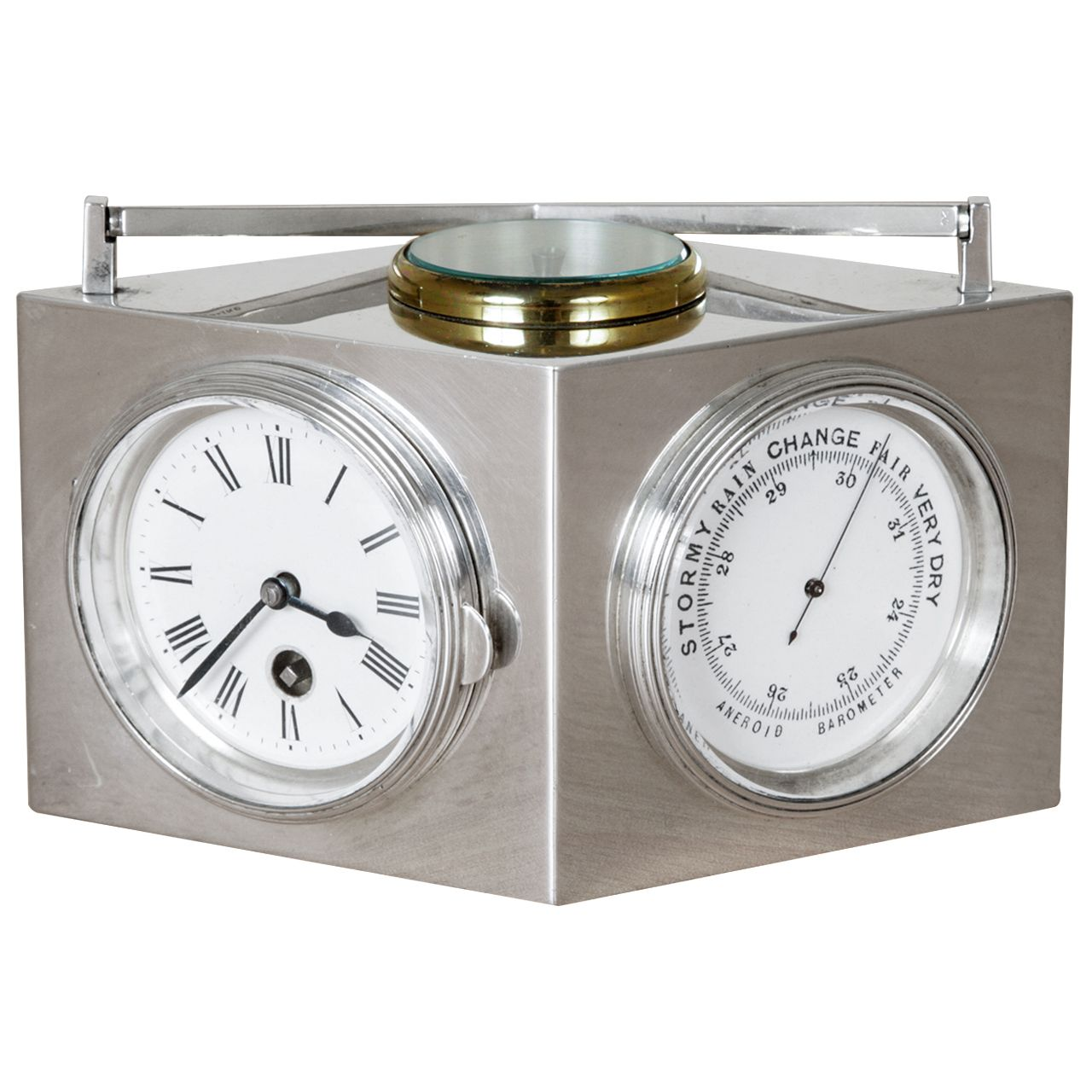 Sterling Silver Combination Clock | From a unique collection of antique and modern sterling silver at https://www.1stdibs.com/furniture/dining-entertaining/sterling-silver/