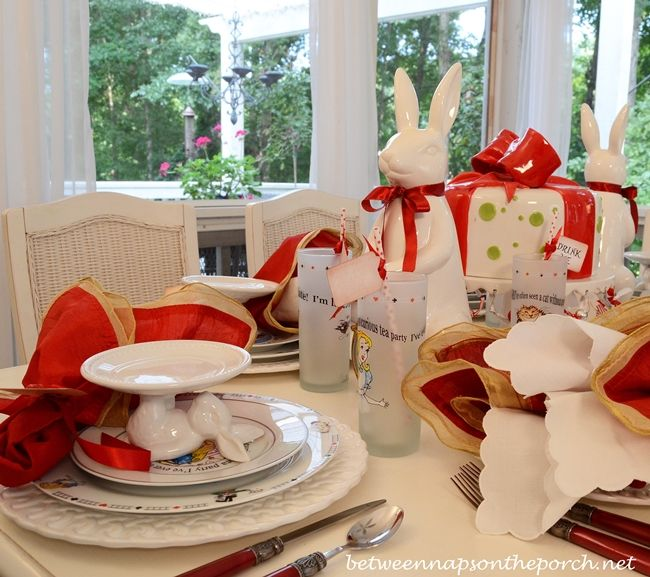 Alice in Wonderland Table Setting Tablescape with a White Rabbit Theme