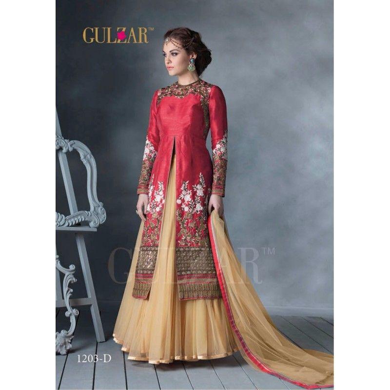 d3eb0af05f Bridal Designer Maroon Embroidered Bhagalpuri Silk Wedding Wear Anarkali  Suit - 1203-D ( OFB-626 )