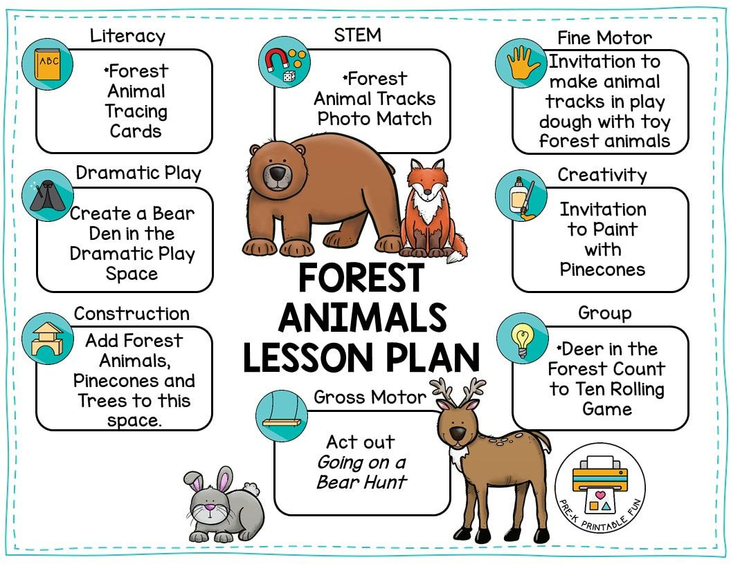 Forest Animals Preschool Lesson Plan Forest Animals Preschool Forest Animals Theme Animal Lessons [ 816 x 1056 Pixel ]