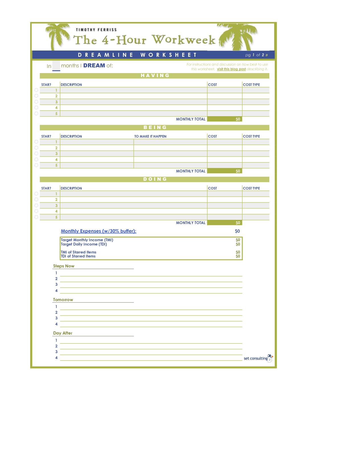 Dreamline Worksheet