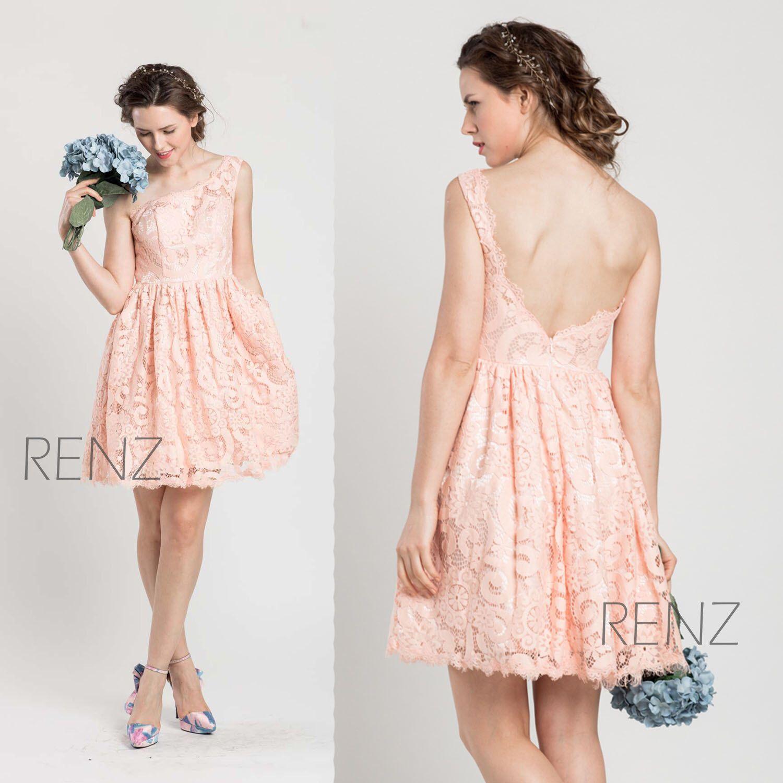 Bright peach lace bridesmaid dressshort one shoulder elegant dress 2015 pink lace bridesmaid dressshort blush elegant dresspeach a line prom dress ombrellifo Choice Image