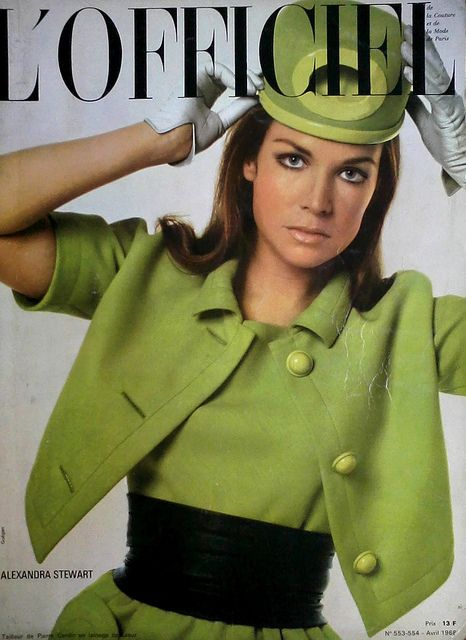 Actress Alexandra Stewart is wearing a Creation of Pierre Cardin and photographed by Guègan.French Fashion Magazine:L'Officiel,April 1968.