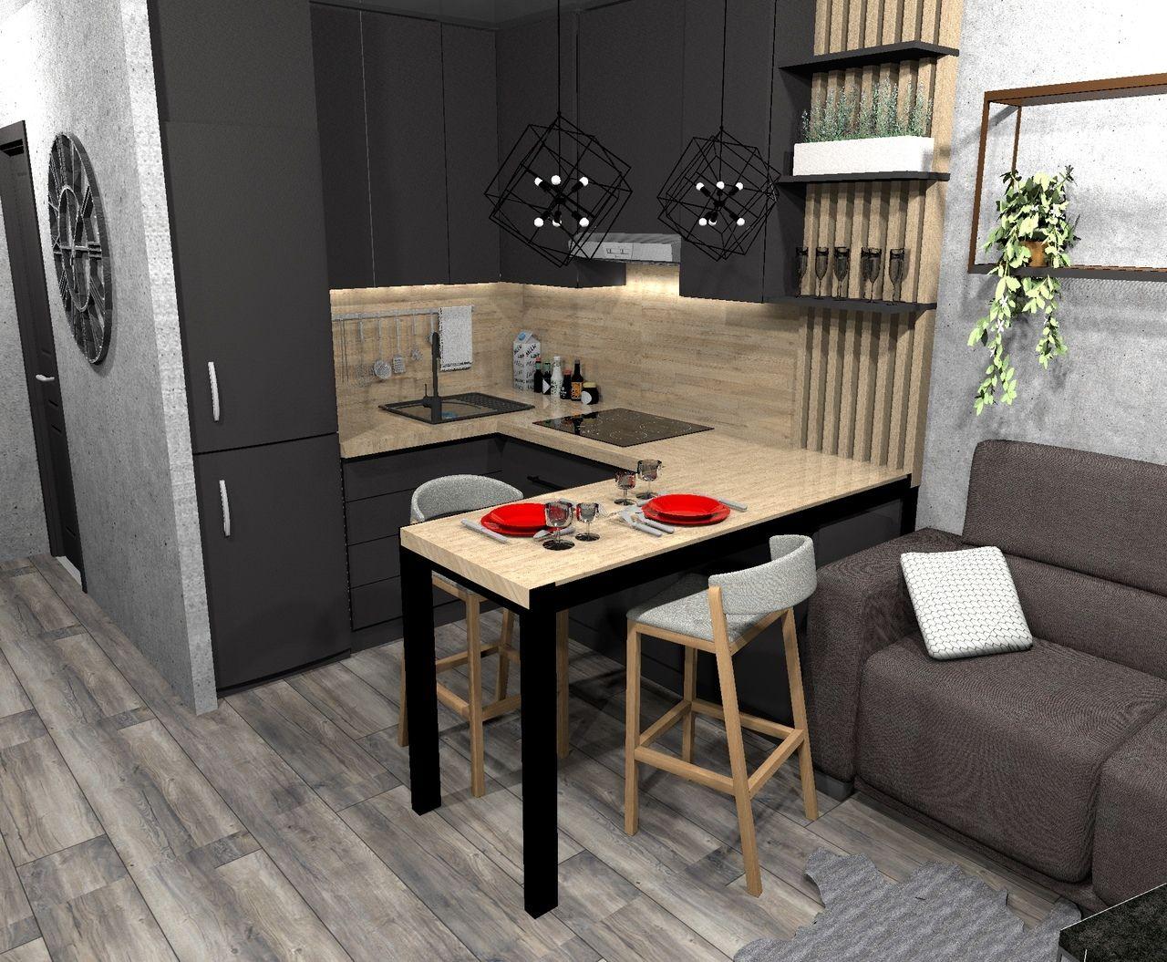 Кухня-гостиная 18 кв/м. (2020)   Интерьер, Интерьер кухни ...