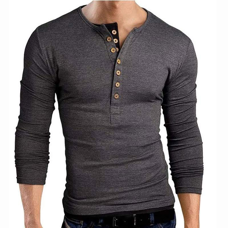 Material: Cotton, Spandex - Slim Fit Henley Shirts T Shirt Tops - Long  sleeve henley shirt, featuring contrast color double seven-button placket  and hem ...