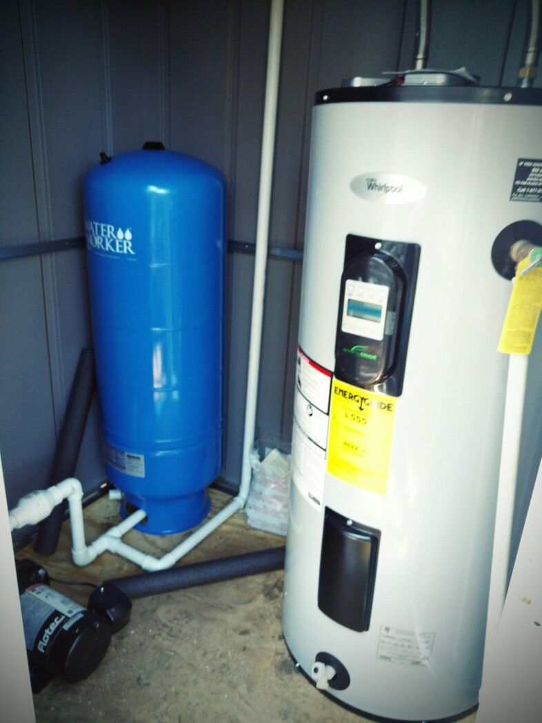 Water heater, pressure tank, shallow well pump in the