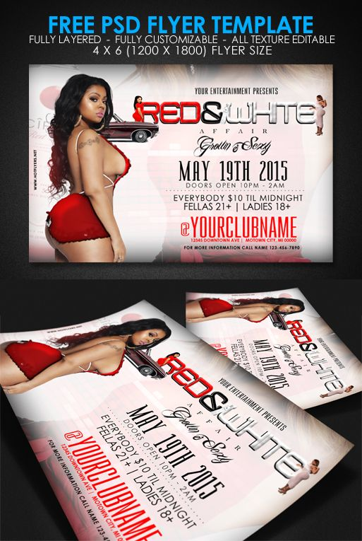 Free Red White Grown And Sexy Psd Flyer Template Psd Fully