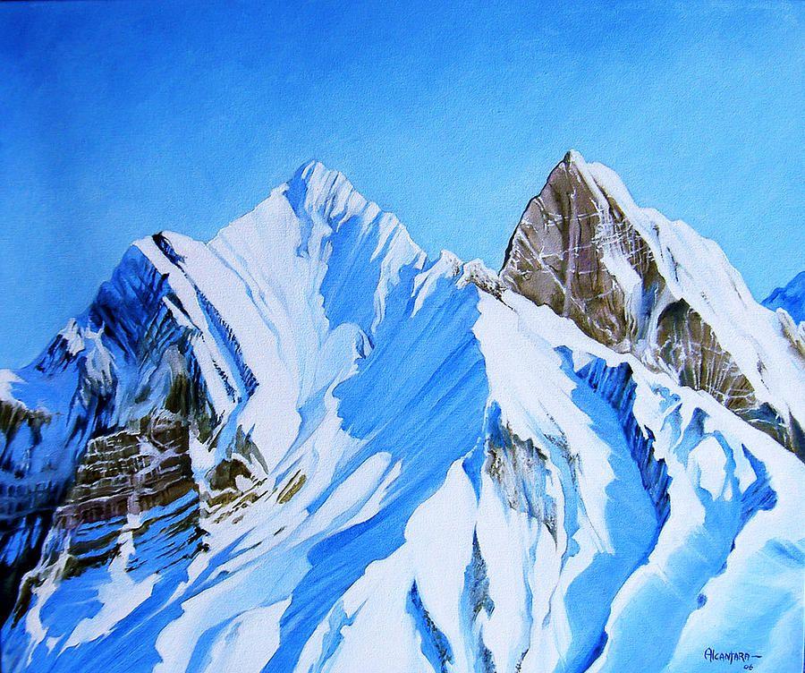 Snowy Mountain Mountain Paintings Mountain Art Landscape Paintings