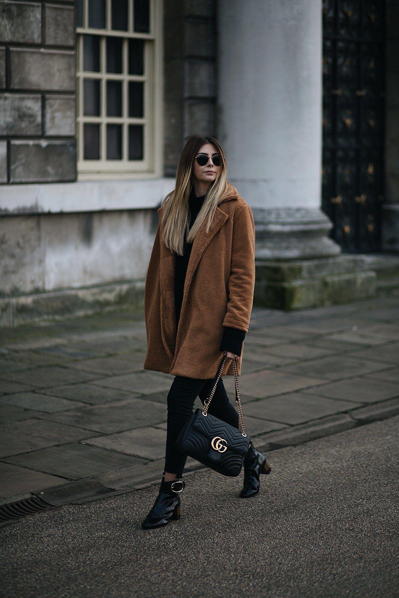 eb2c9e7d7653 Emma Hill wears camel brown teddy bear coat