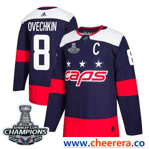 e52ef6ea3 Adidas Washington Capitals #8 Alex Ovechkin Navy Authentic 2018 Stadium  Series Stanley Cup Final Champions Stitched NHL Jersey