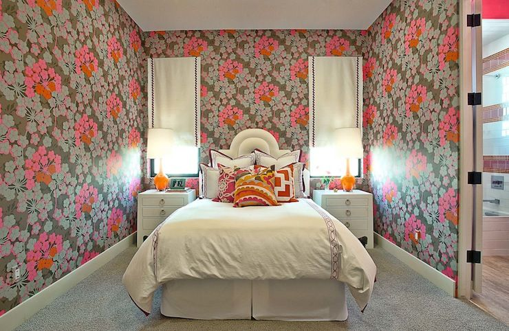 Glynis Wood Interiors | Jonathan Adler Capri Bottle Lamp | embroidered white euro shams | arched white upholstered headboard | Bungalow 5 Jacqui 3-Drawer Side Table |floral wallpaper | orange lamps