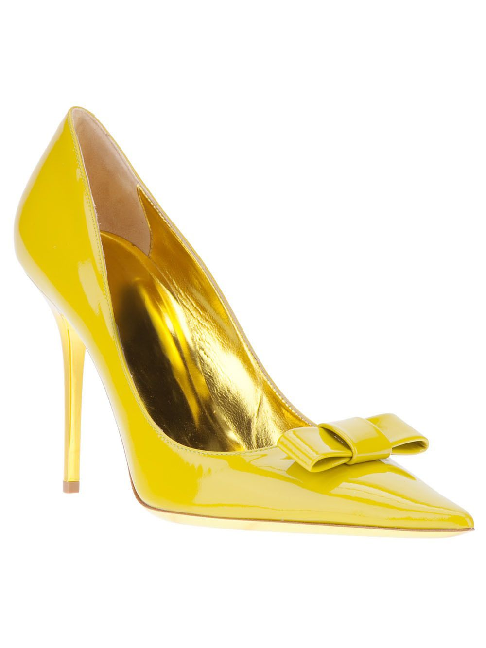Yellow Patent Leather Women Pumps Bowtie Pointed Toe Slip Ons Thin High Heels Wedding Party Shoes