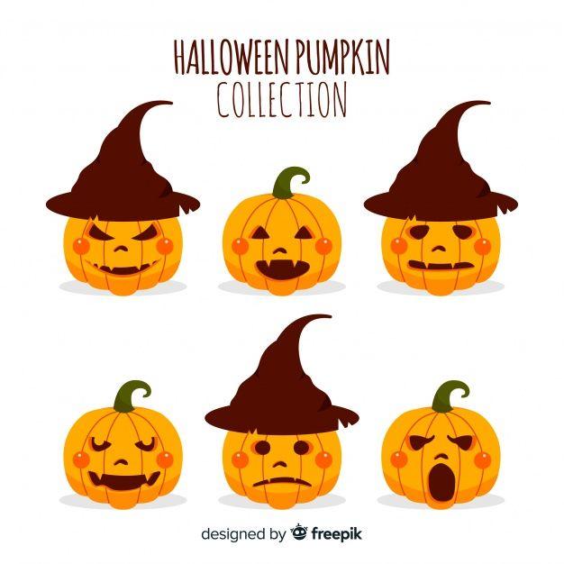 Colección de calabazas de halloween en diseño plano   Halloween ...