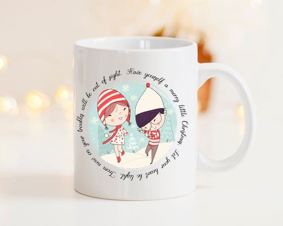 Have Yourself a Merry Little Christmas Cheer with lovely couple winter design will bring you a cup of joy.  A great option for a stocking filler, Christmas mug is perfect for your favourite hot beverage to watch a Christmas Movie with. It is printed on 2 sides. Have Yourself a Merry Little Christmas lyrics are printed around the illustration.- 10oz Mug- CeramicCosy Christmas Mug is dishwasher and microwave safe.Shipping Information: If you need your items by a certain date or on a tight deadline