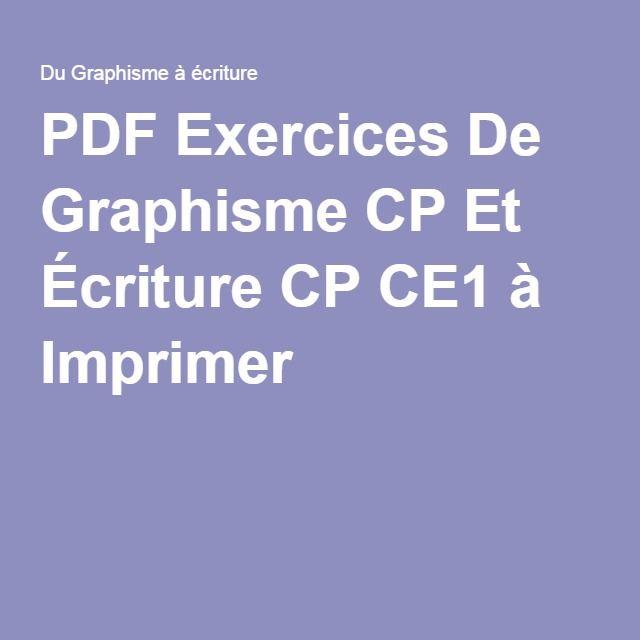 PDF Exercices De Graphisme CP Et Écriture CP CE1 à ...