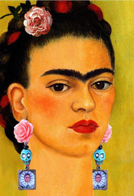 Frida portrait Day of the Dead dangle earrings. by
