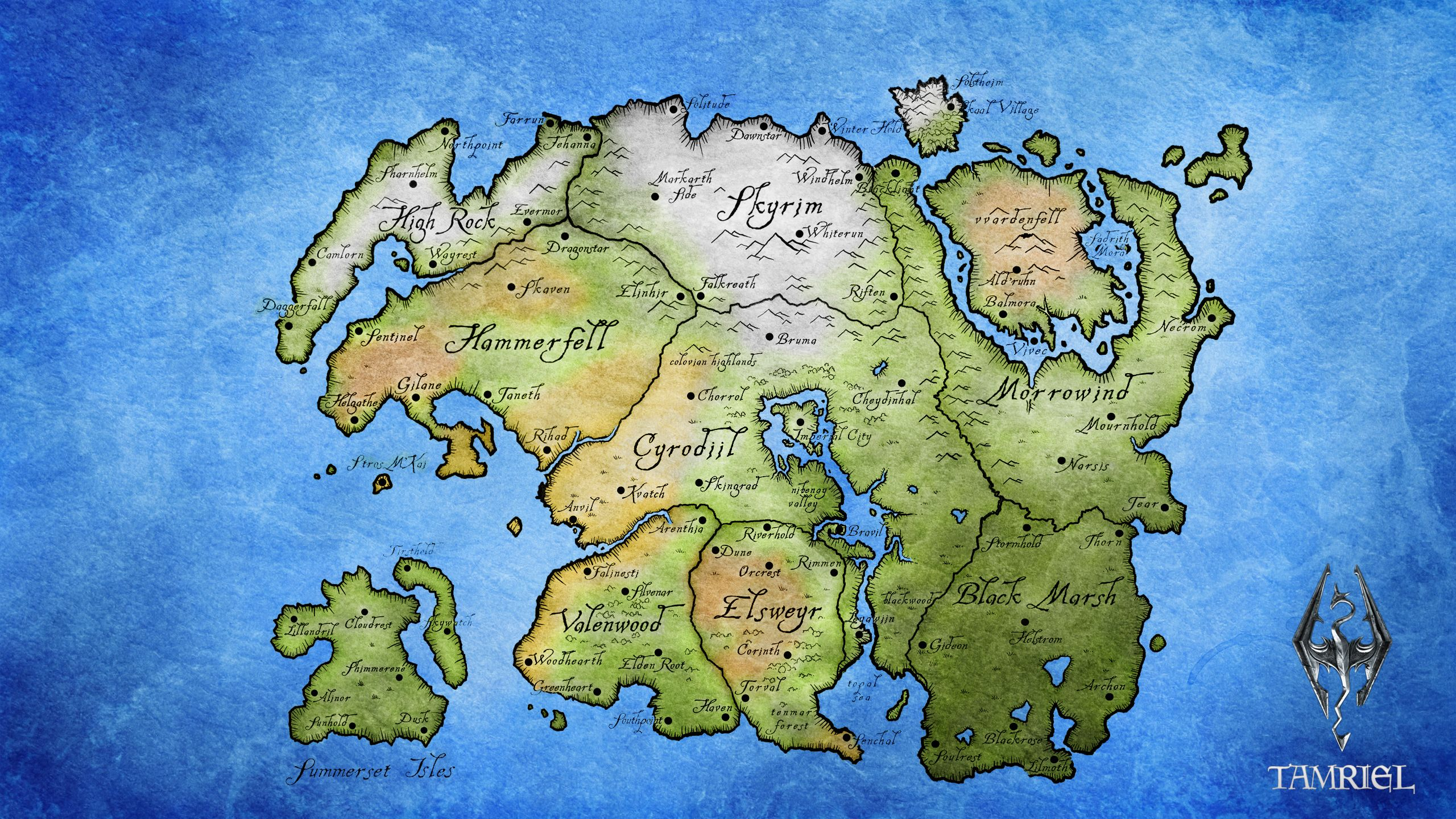 Tamriel in 2019 | Elder scrolls map, Skyrim map, Elder scrolls