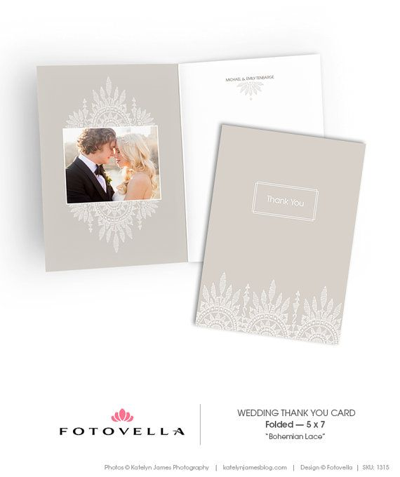 Wedding Thank You Card 5x7 Vertical Folded By Fotovella