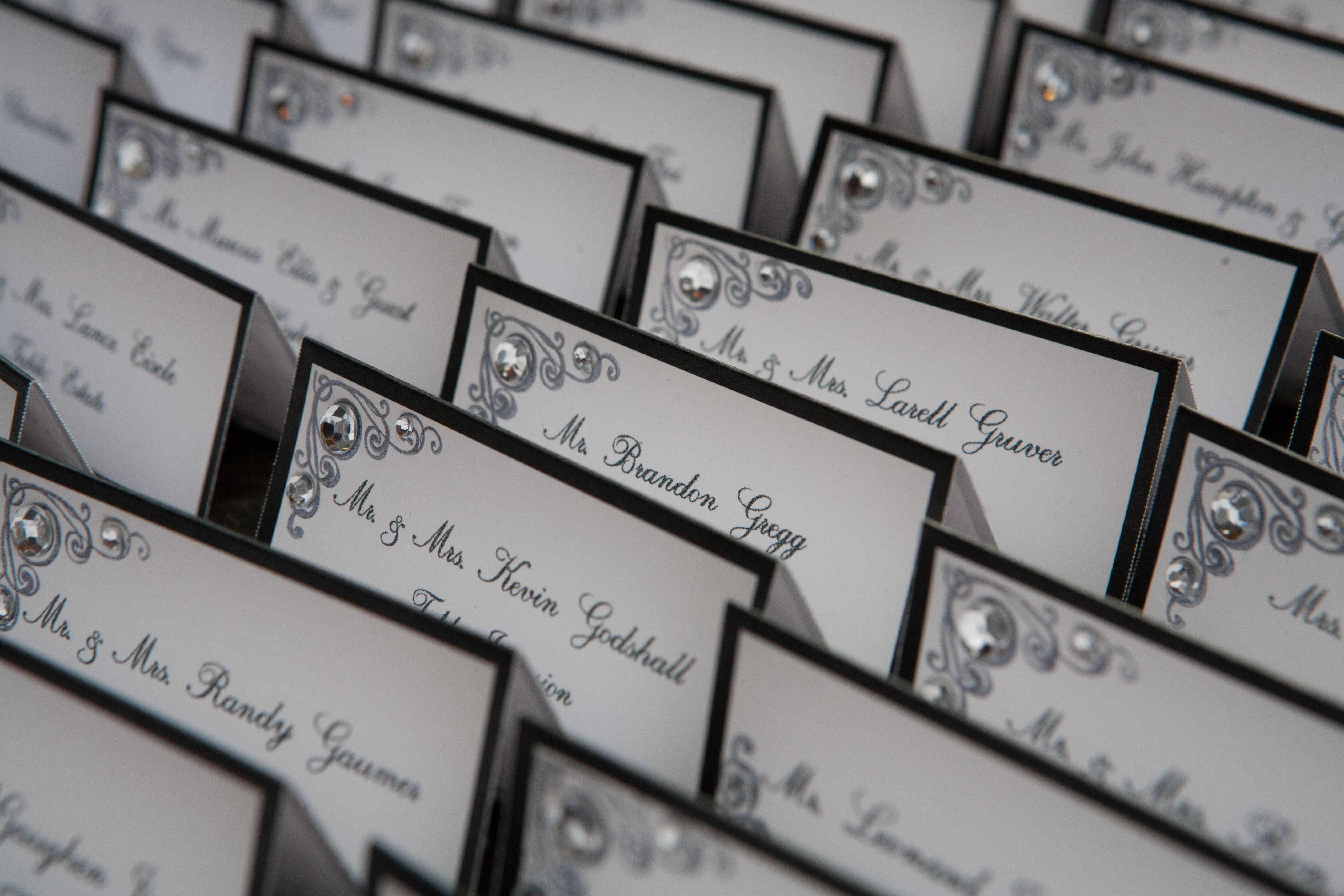 wedding invitations from michaels crafts%0A Place cards  DIY from Michaels   stamped and added some bling