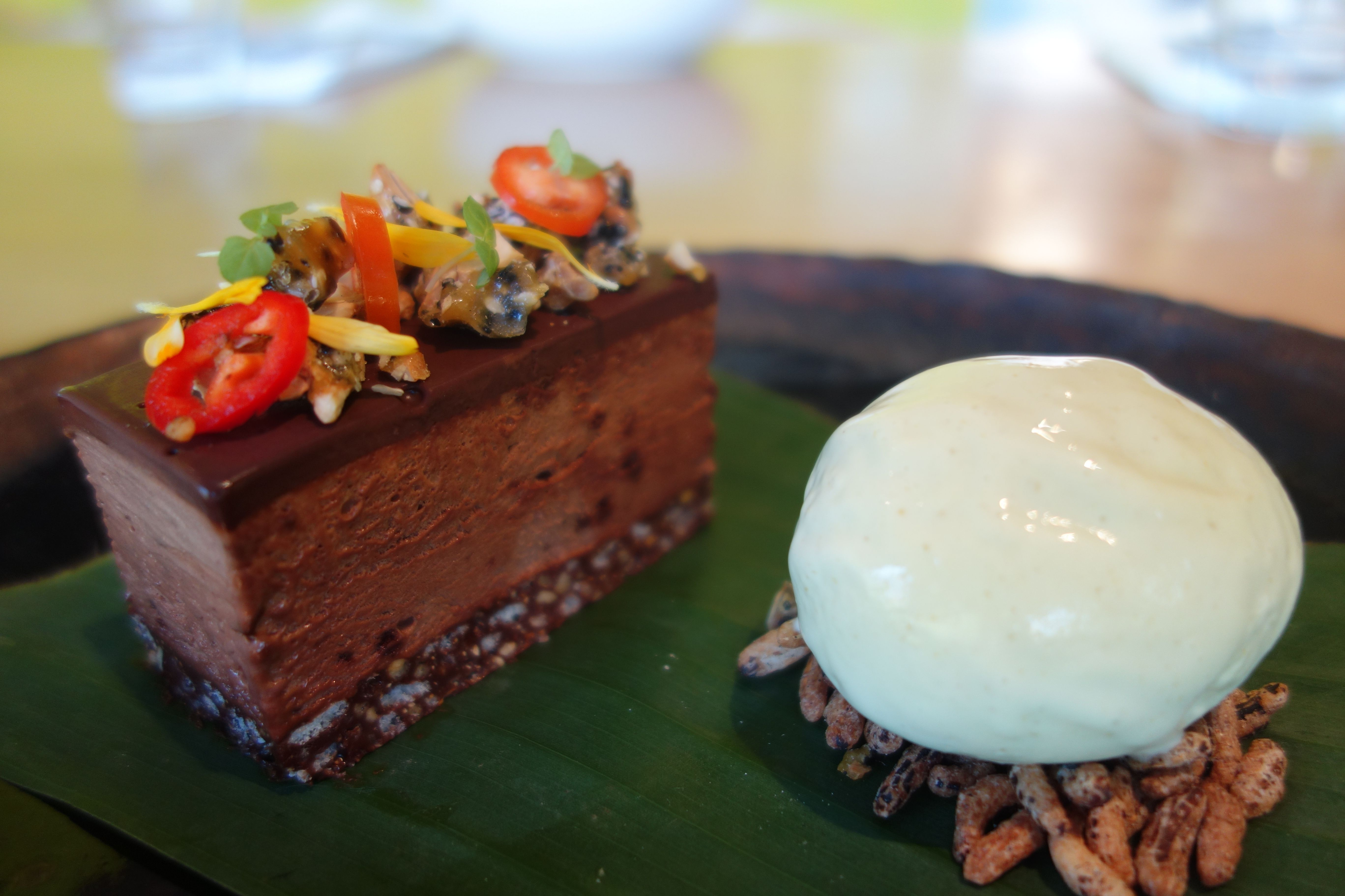 Chocolate Delice with Chilli, Cashew Nut Praline, Puffed ...