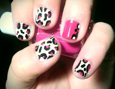 pink leopard-print nails