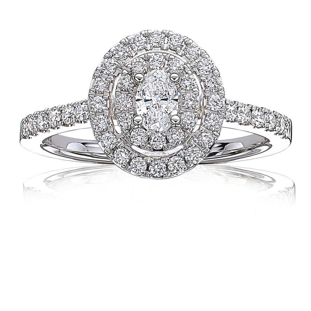 Eliza. Oval Diamond Double Halo Engagement Ring in 14k
