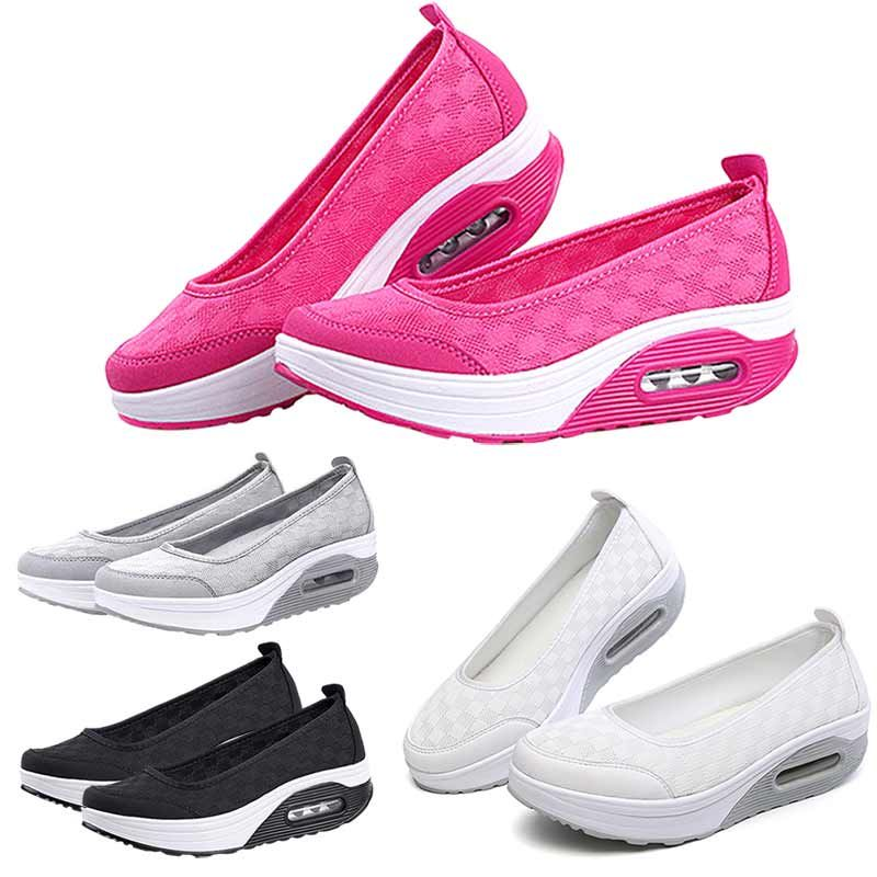 Women's Platfom Shoes Casual Shake Sport Mesh Breathable Outdoor Walking Slip on